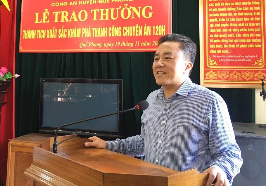 Đồng chí Lê Văn Giáp - Chủ tịch UBND huyện Quế Phong phát biểu tại lễ trao thưởng