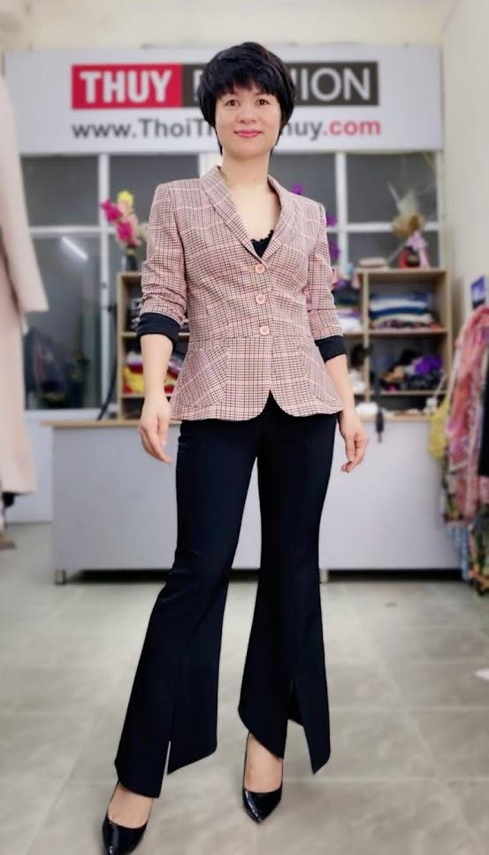 Áo vest nữ công sở kiểu peplum che bụng V739 thời trang thủy quảng ninh