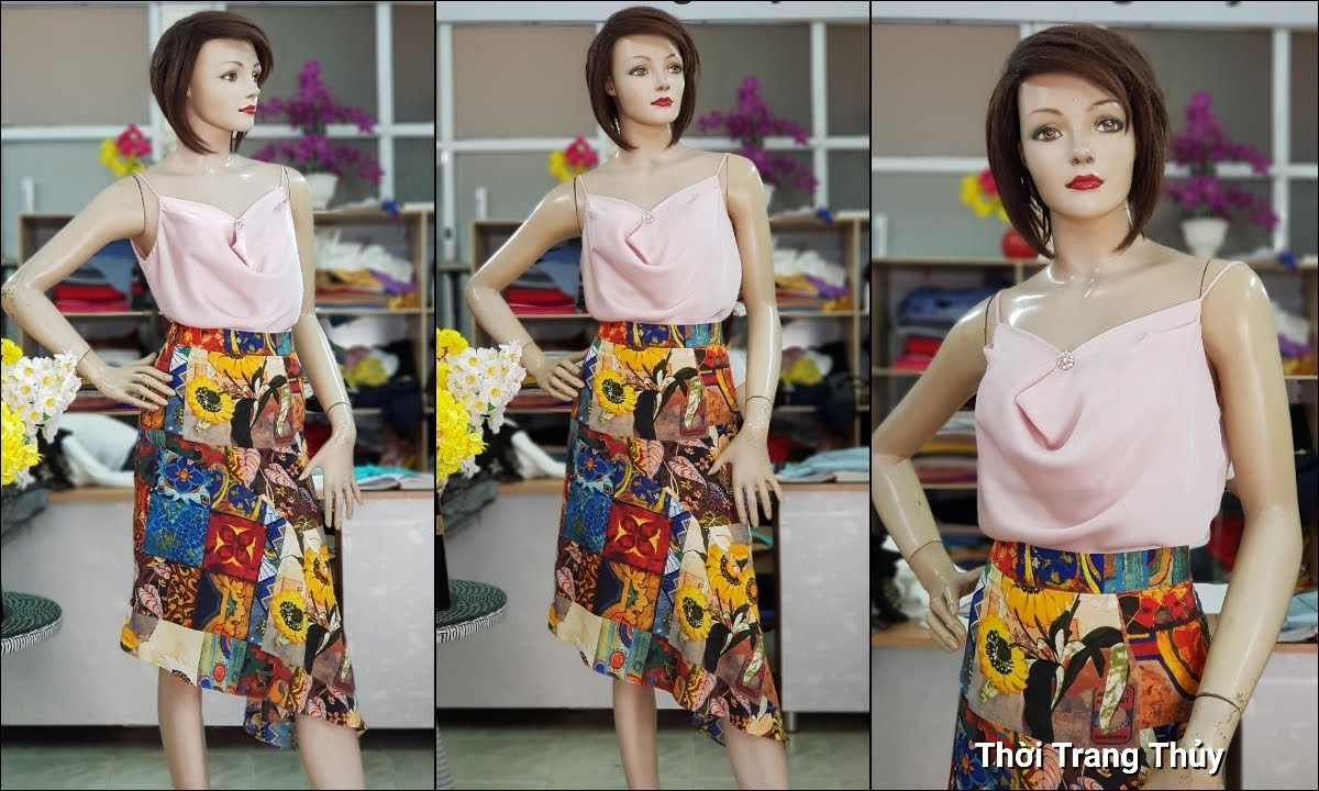Áo hai dây và chân váy xòe vạt lệch dạo phố V714 thời trang thủy