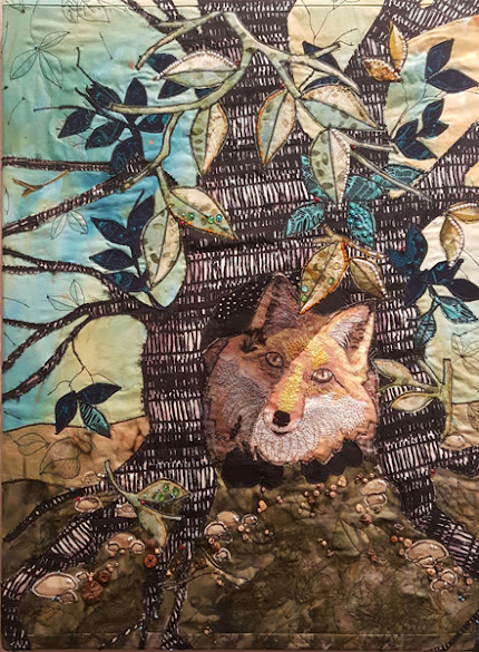"""FIRST PLACE:  """"Secret Wood"""" Fiber and Mixed Media by Shirley Nachtrieb"""