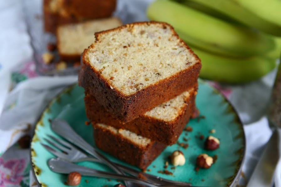 Spiced Olive Oil Banana Bread with Hazelnuts