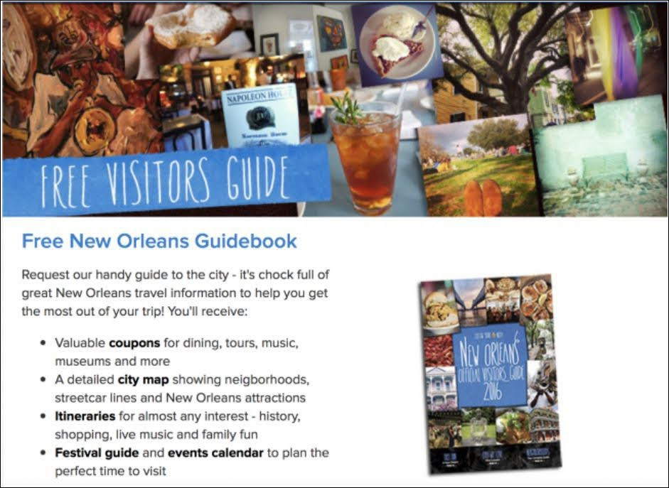 Here's an example Visitor's Guide Lead Magnet for leads that will be visiting New Orleans.