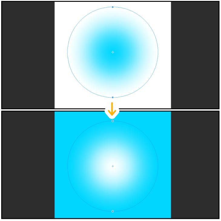 クリスタの円形グラデーションを反転