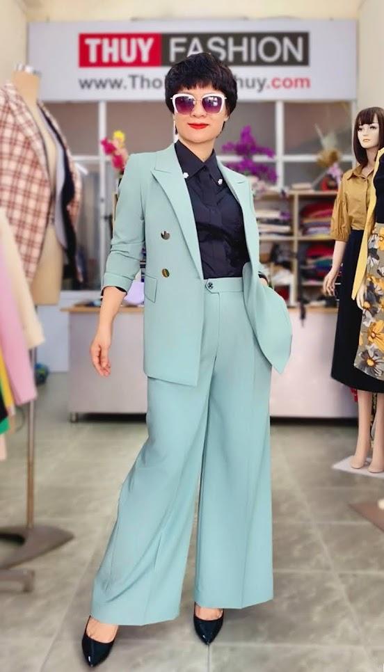 Áo vest nữ mix đồ quần ống suông màu xanh V726 thời trang thủy sài gòn