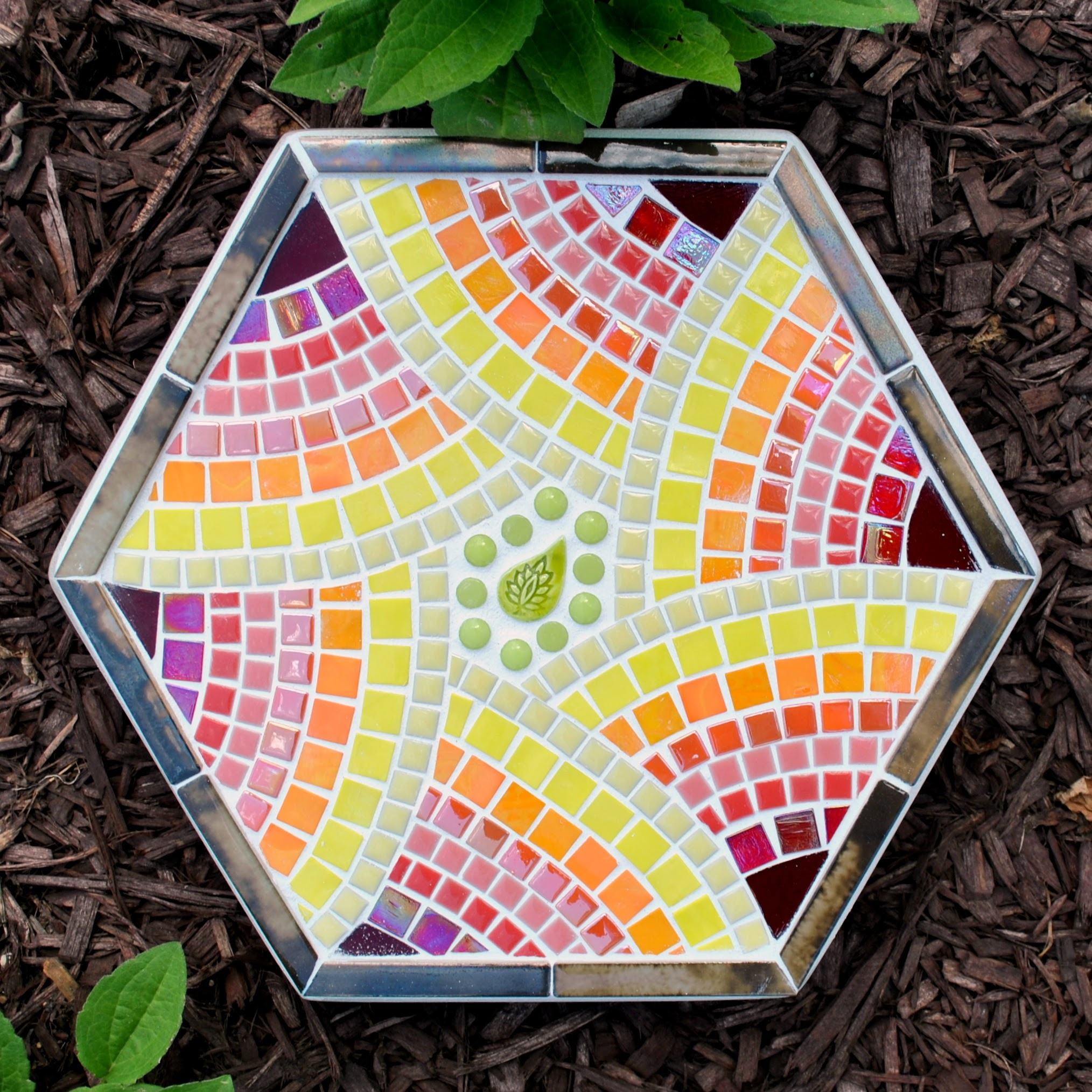 Flower Garden Hexagonal Stepping Stone