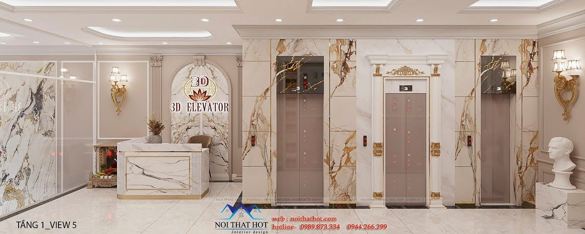 thiết kế shop phụ kiện thang máy