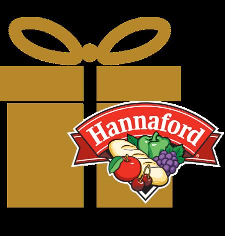 gold gift box with hannaford logo