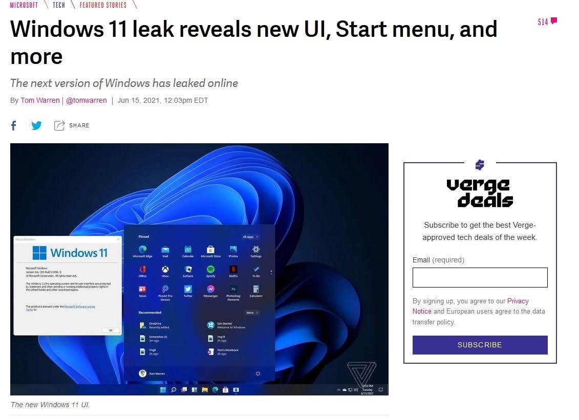 Windows11 leak 情報