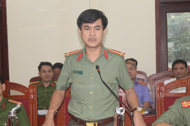 Đồng chí Đại tá Nguyễn Đức Hải, Phó Giám đốc Công an tỉnh ghi nhận, đánh giá cao những kết quả Công an huyện đạt được trên lĩnh vực an ninh