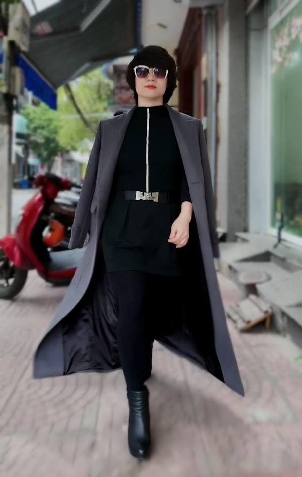 Áo khoác măng tô nữ vải dạ màu ghi xám V750 thời trang thủy hải phòng 2