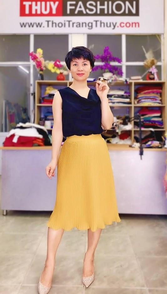 áo cổ đổ mix đồ chân váy xòe midi thời trang thủy hải phòng