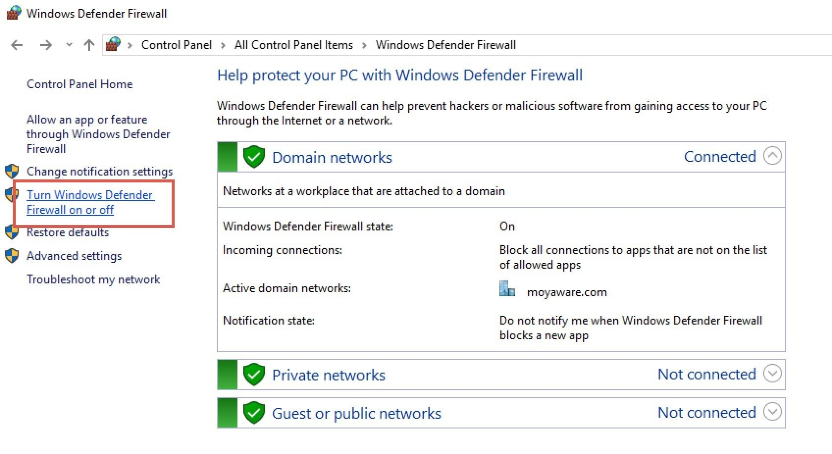 Click the Turn Windows Defender Firewall on or off option at the sidebar.