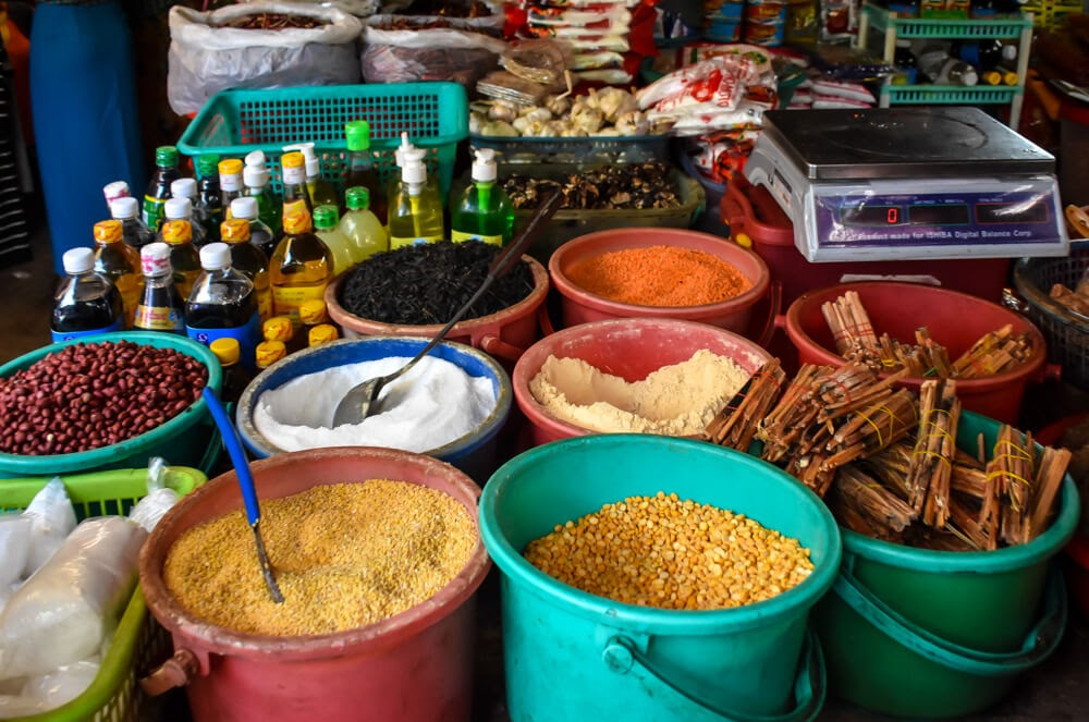 spices and nuts in dala market rangoon burma.jpg