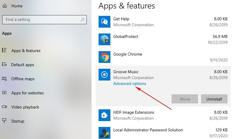 Advanced options for Groove Music
