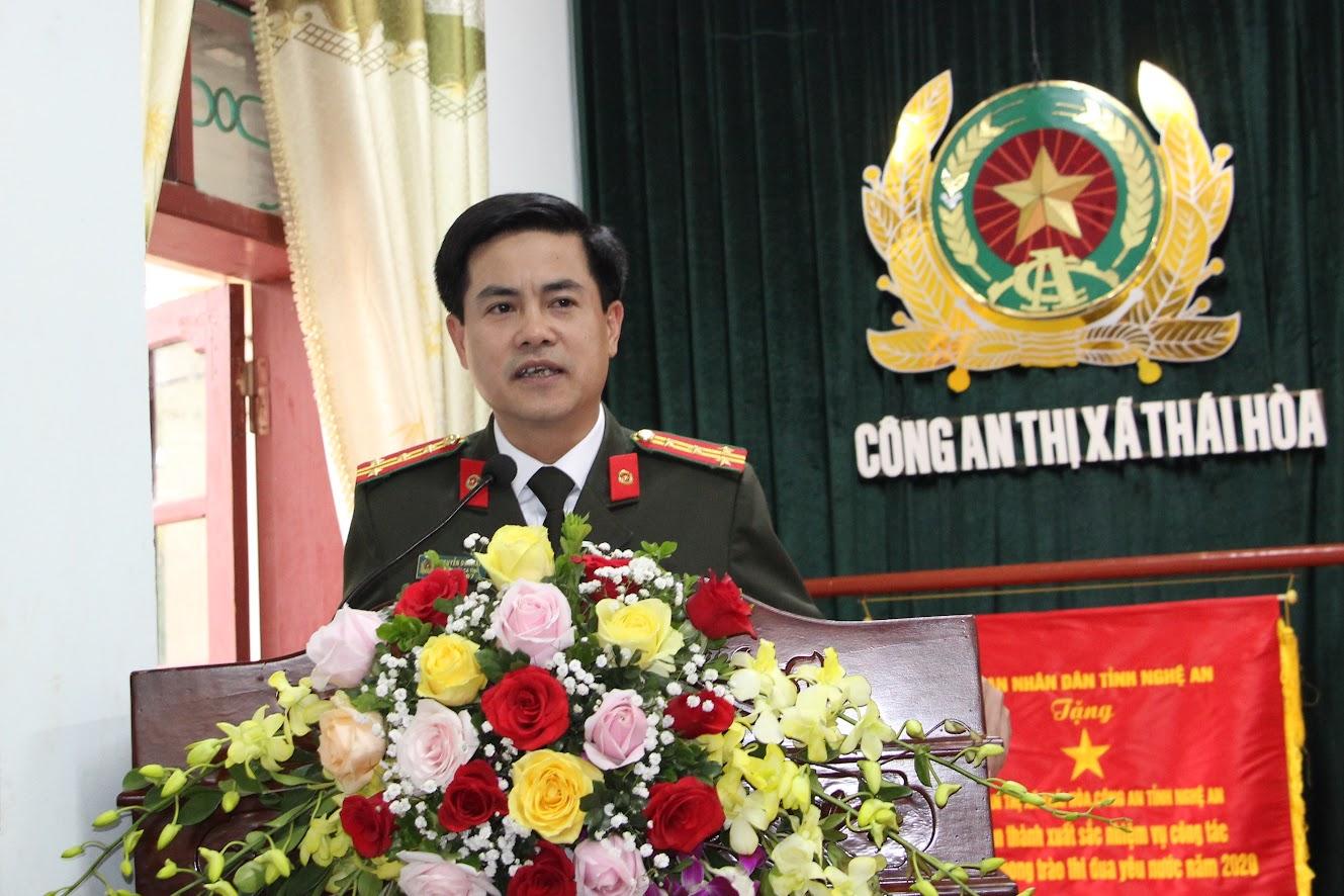 Đồng chí Đại tá Nguyễn Đức Hải, Phó Giám đốc Công an tỉnh phát biểu tại Hội nghị