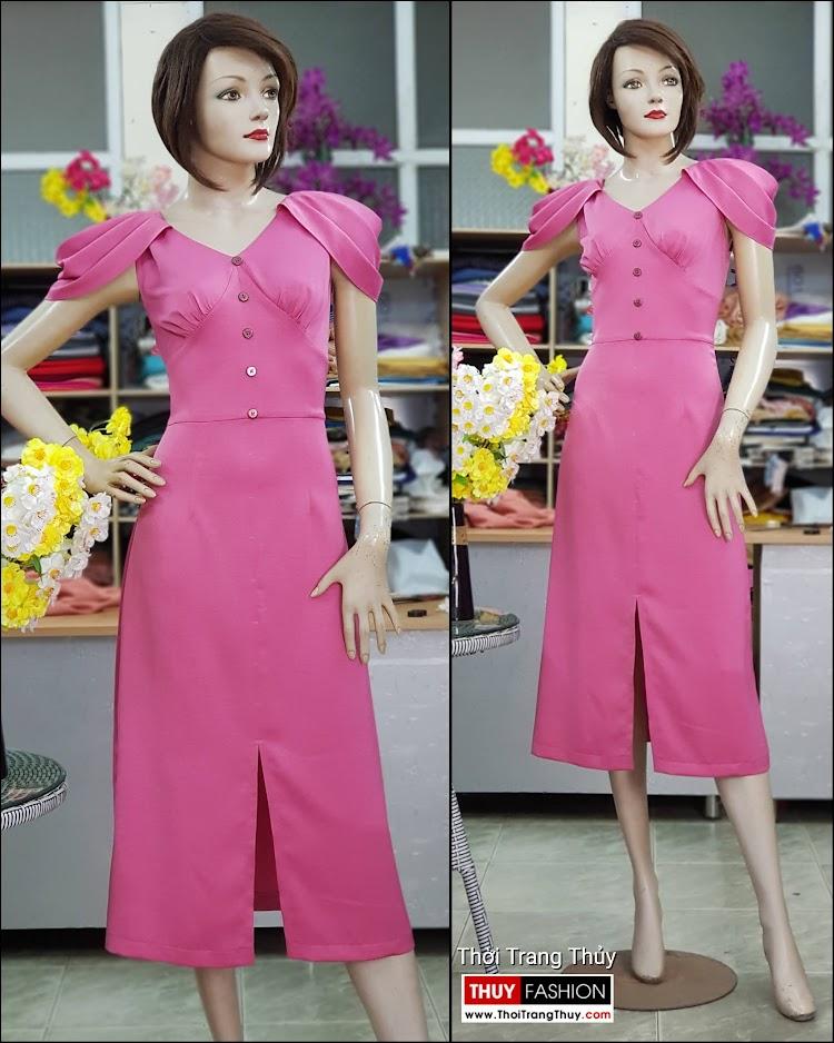 Váy dự tiệc tay bồng xếp ly màu hồng V718 thời trang thủy