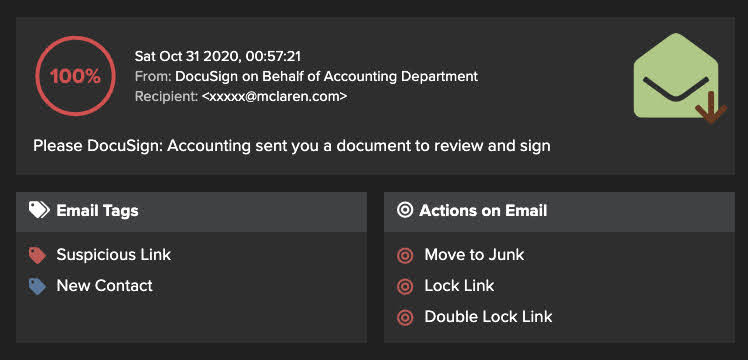 Figure 5: An interactive snapshot of Antigena Email's user interface surfacing the email