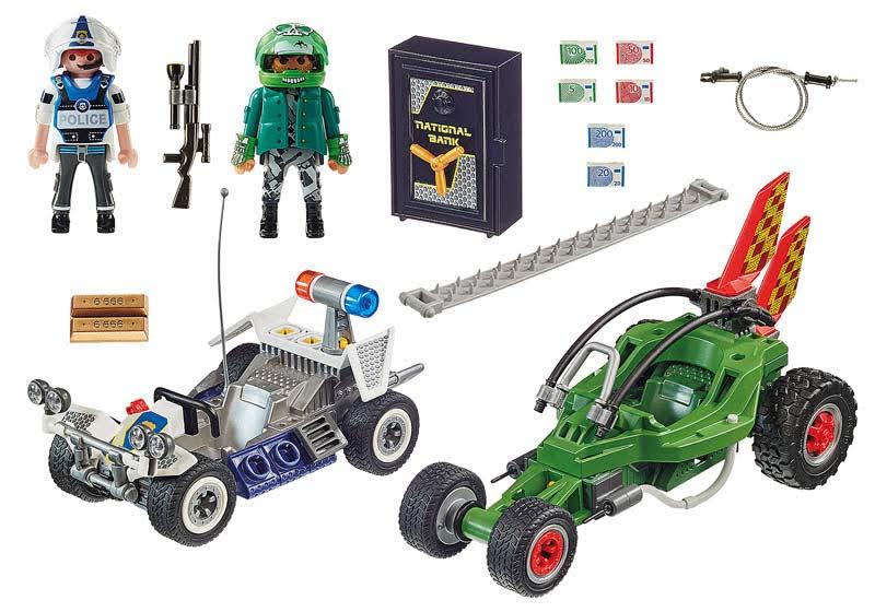 Contenido real de Playmobil® 70577 Kart Policial: persecución ladrón de caja fuerte