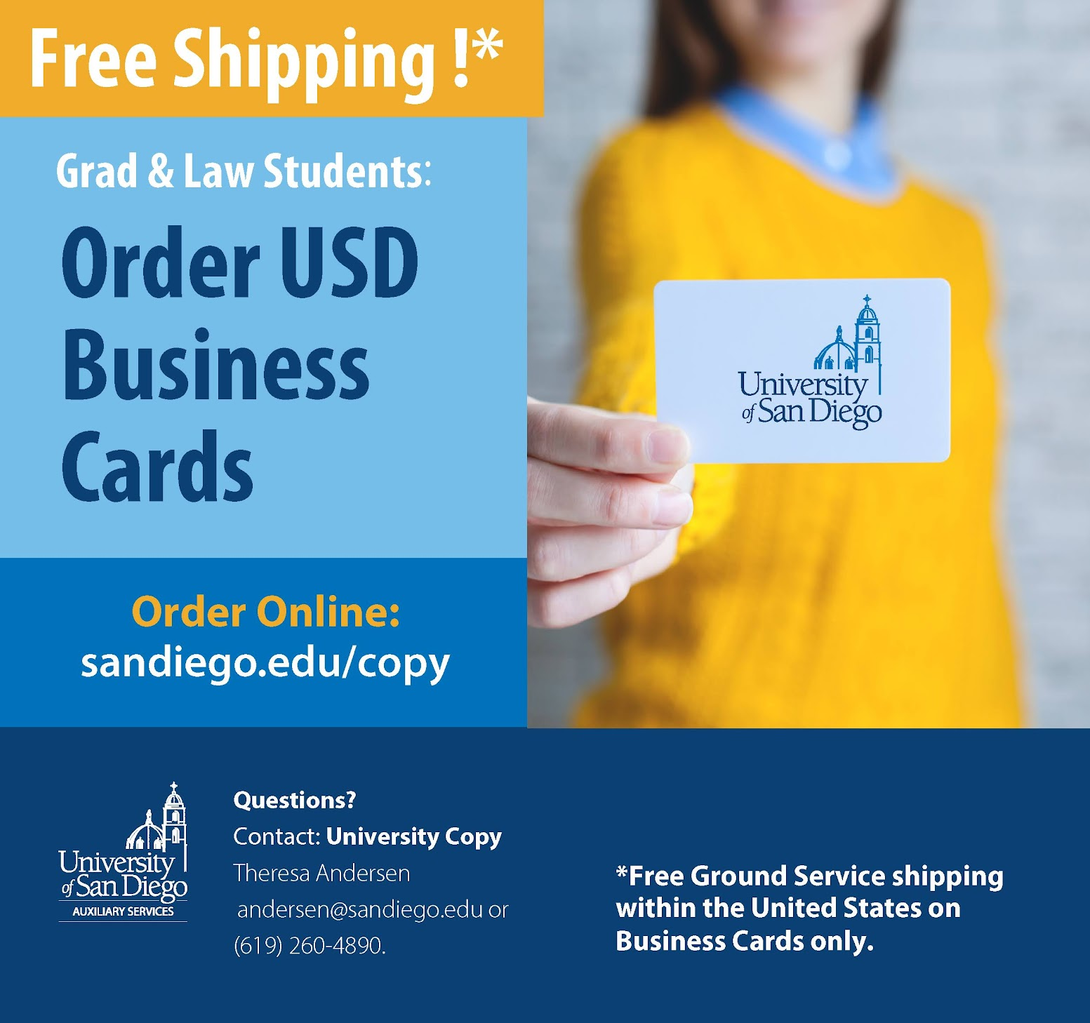 Free shipping on Grad student business cards through USD Copy