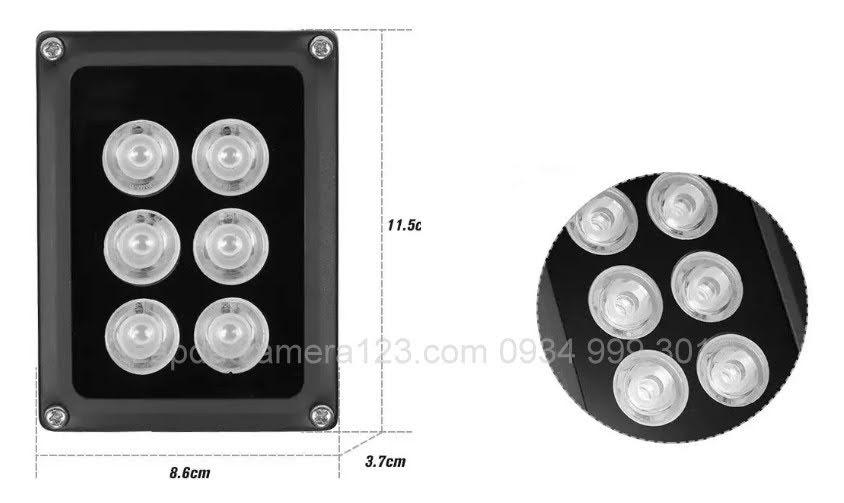 Đèn hồng ngoại 6 led array hỗ trợ camera nhìn đêm
