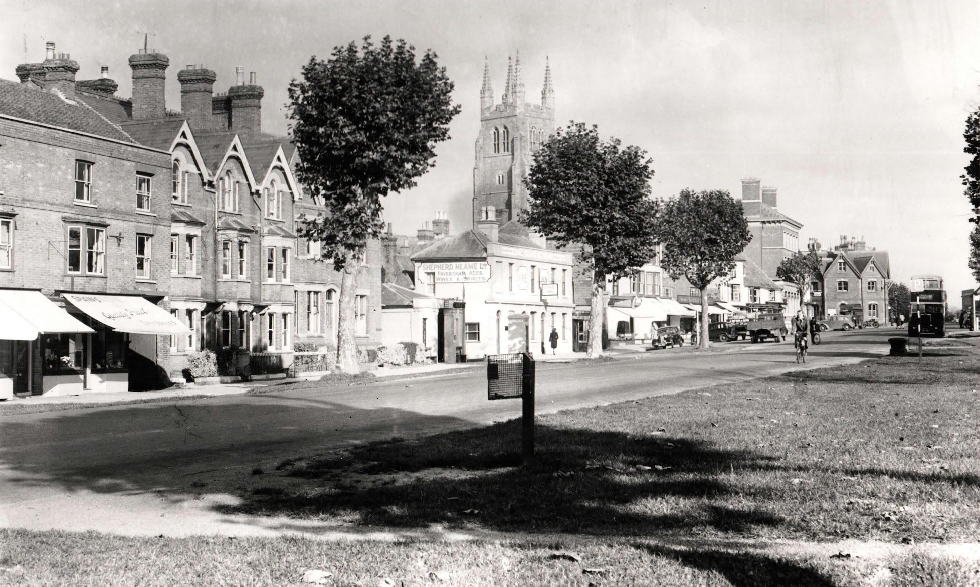 Water trough in the distance in Tenterden High Street in c.1960