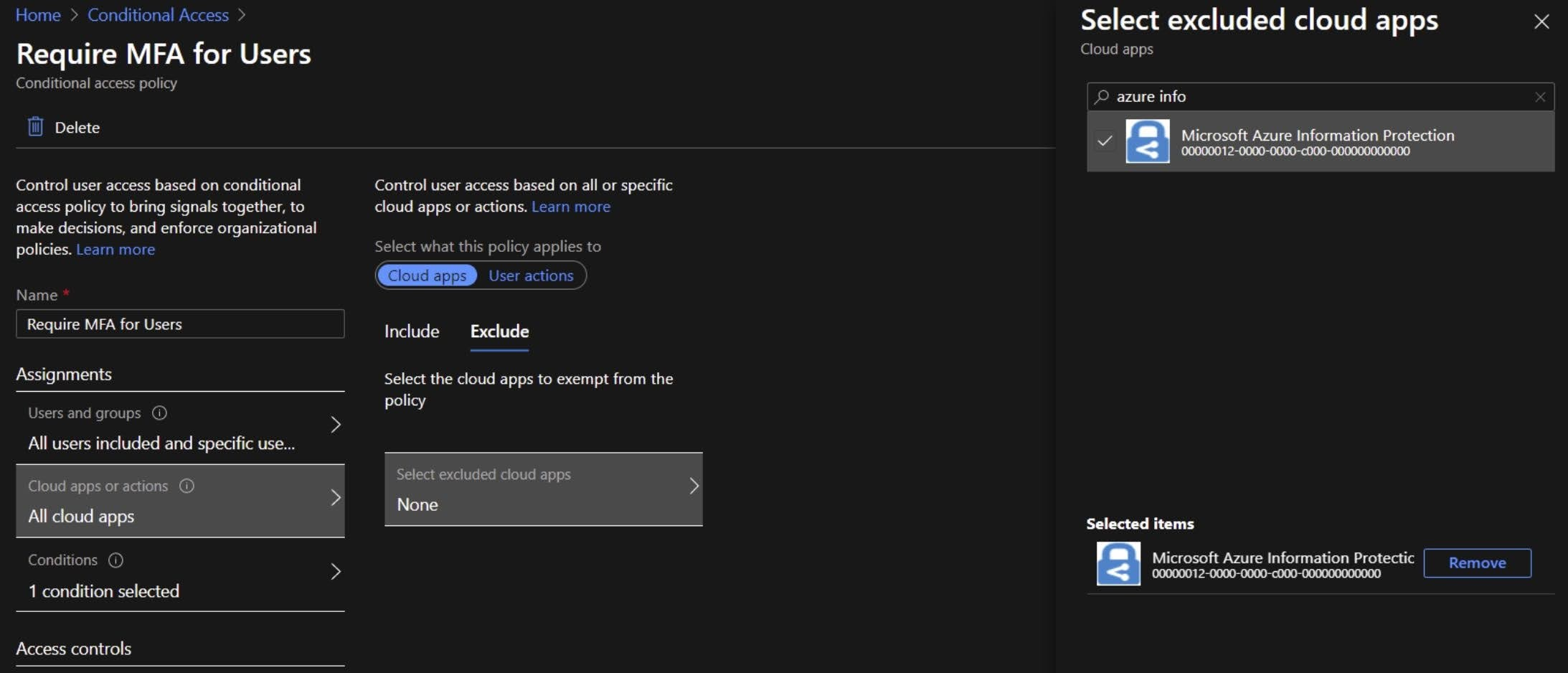 Exclude Microsoft Azure Information Protection