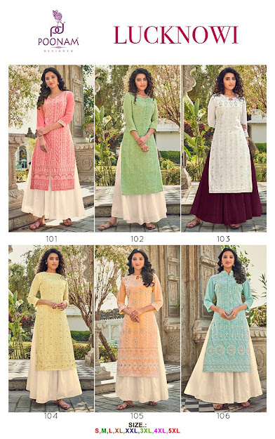 Lucknowi Poonam Designer Branded Plus Size Kurtis Manufacturer Wholesaler