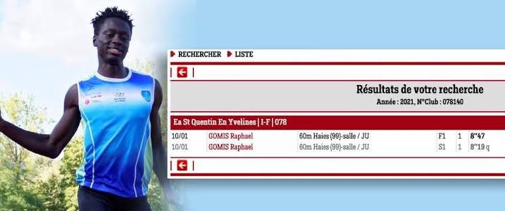 Raphaël Gomis, 1er athlète de l'EASQY à reprendre la compétition
