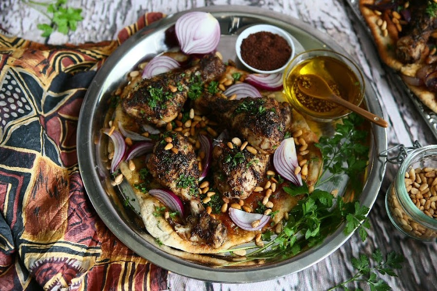 Mussakhan Palestinian Roast Chicken with Sumac and Red Onions