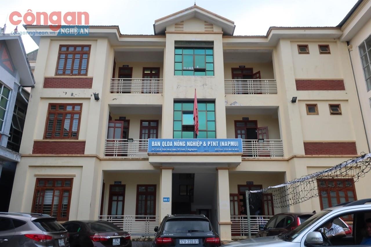 Trụ sở của Ban quản lý dự án NN&PTNT                                                                     tại số 8, đường Trần Huy Liệu, TP Vinh