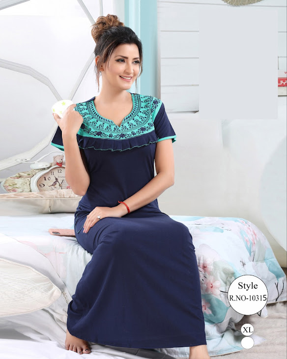 Plain Embroidery Vol 209 Kavyansika Designer Nighty Manufacturer Wholesaler