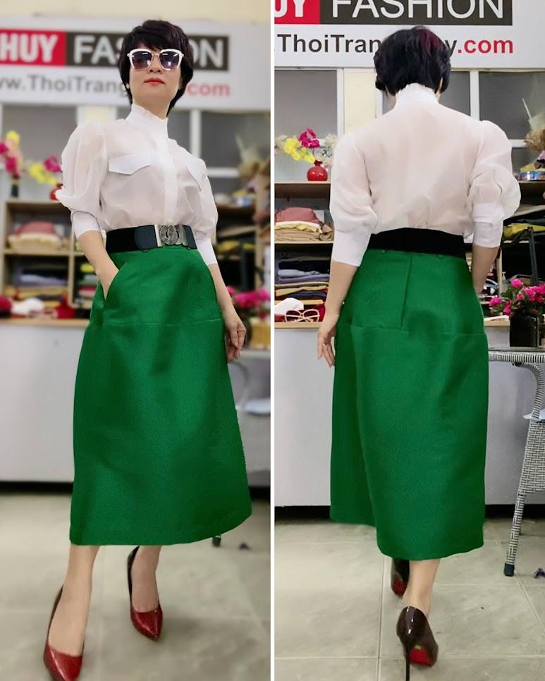 Áo sơ mi nữ tay bồng cao cổ và chân váy dài V751 thời trang thủy ở hà nội