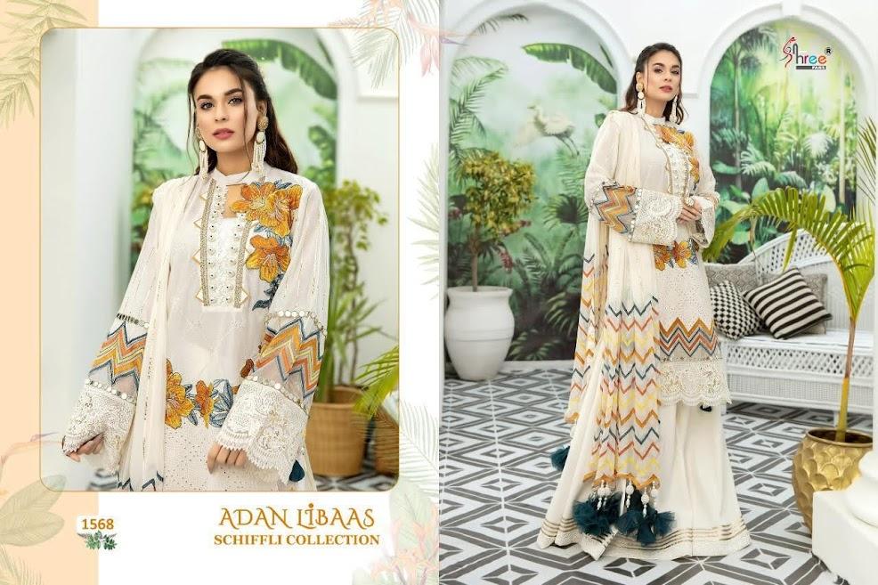 Shree Fabs Adan Libaas Schiffli Collection Design No 1568 Pakistani Salwar Suits Catalog Lowest Price