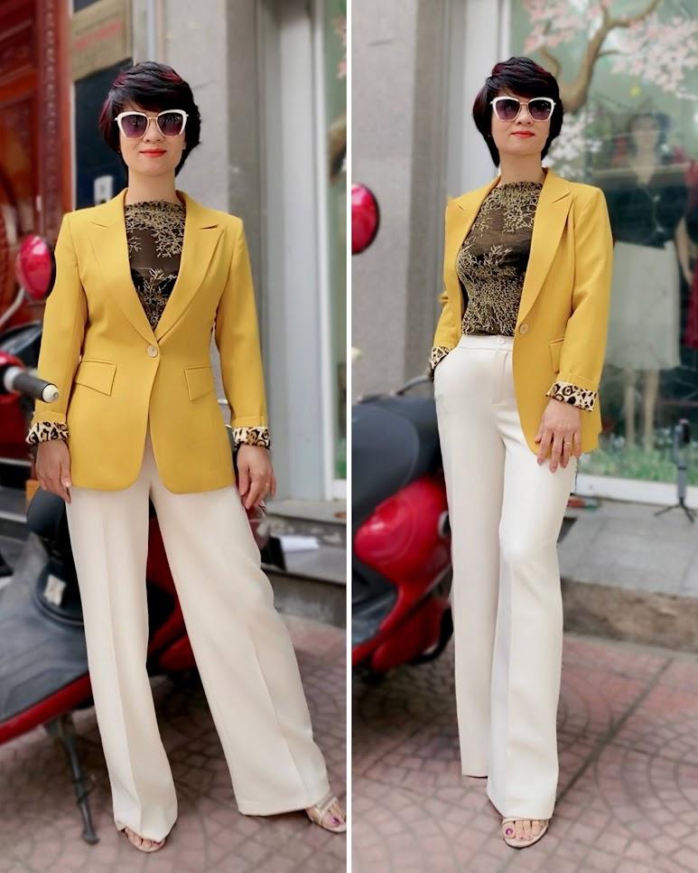 Áo vest nữ công sở màu vàng mix quần ống suông V741 thời trang thủy thái bình
