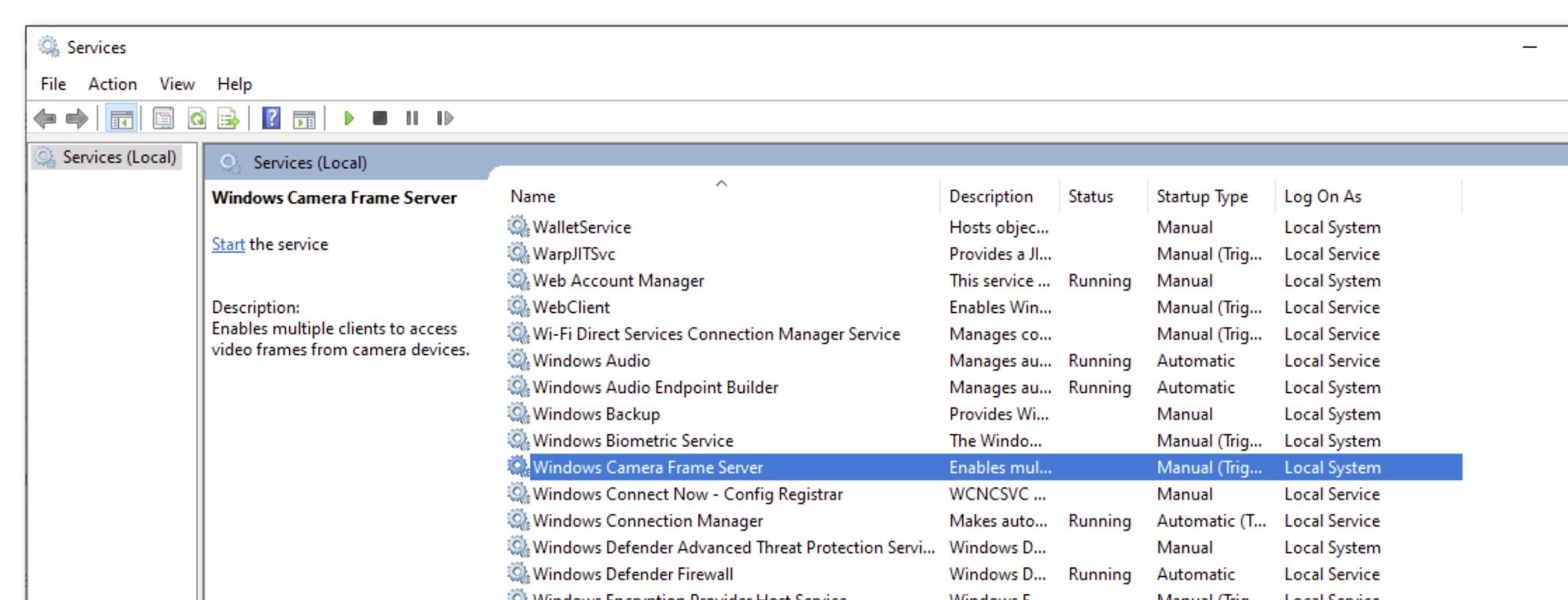 Locate Windows Camera Frame Server service