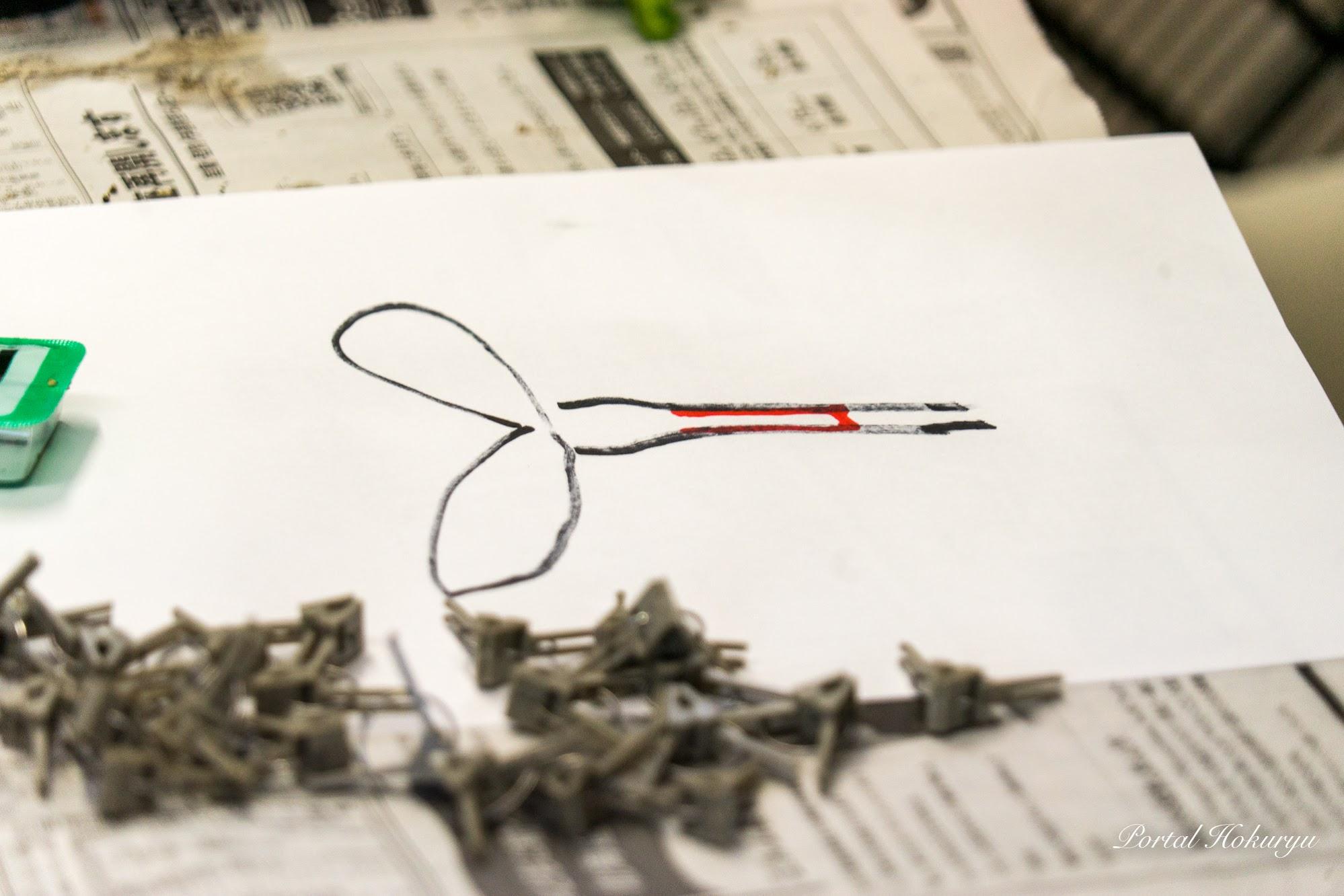 赤いマークの茎の部分を削ぎ取る