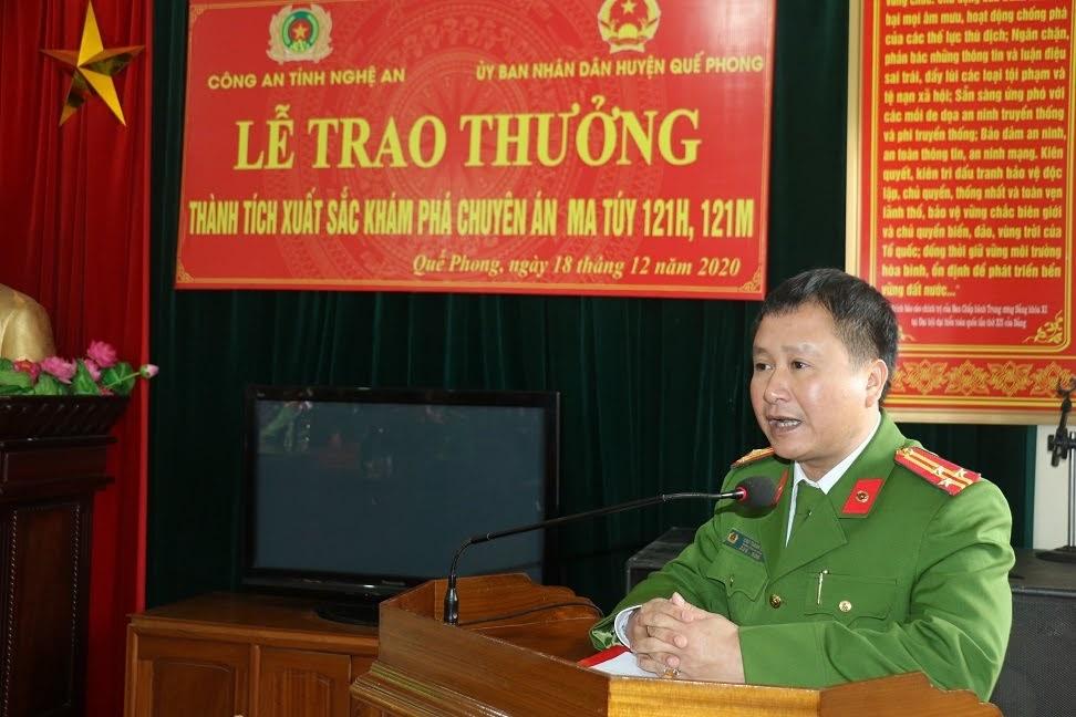 Thượng tá Cao Thanh Hải phát biểu tại buổi lễ