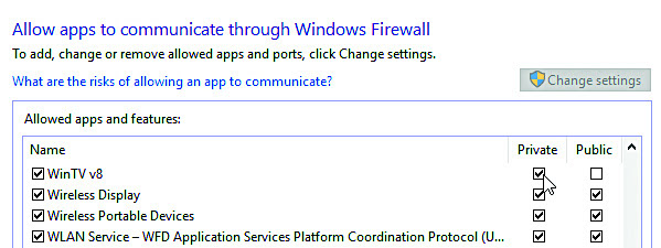 Check the boxes next to the apps or programs you want to allow through Windows Firewall or network connections.