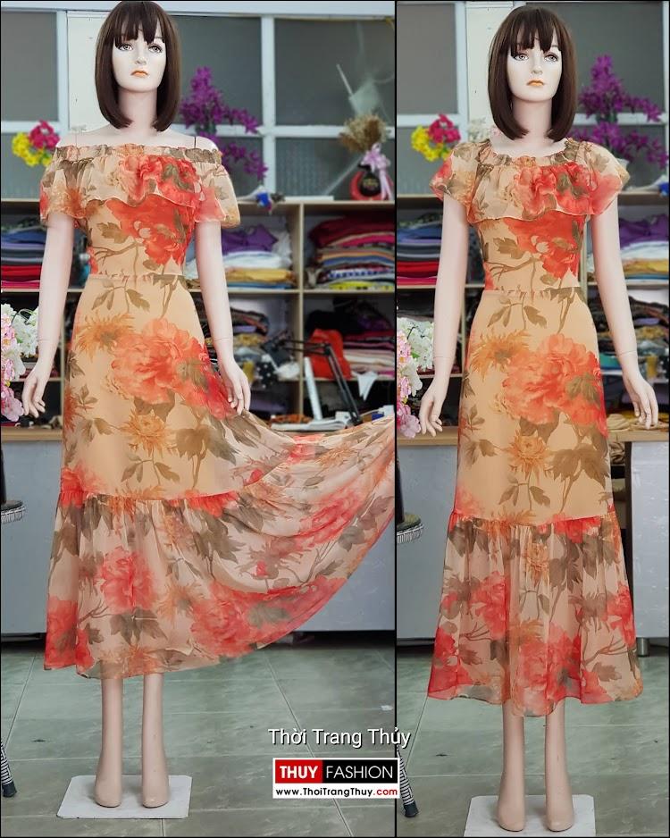 Đầm xòe maxi dáng dài mặc đi biển dự tiệc v716 thời trang thủy đà nẵng