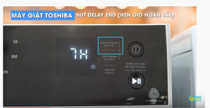 nút hẹn giờ giặt trên máy giặt Toshiba