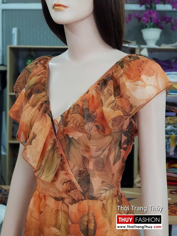 Váy đầm xòe mặc dự tiệc đi biển cổ chữ V717 thời trang thủy quảng ninh