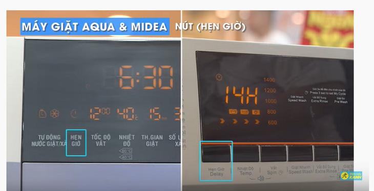 nút hẹn giờ trên máy giặt Aqua và Midea