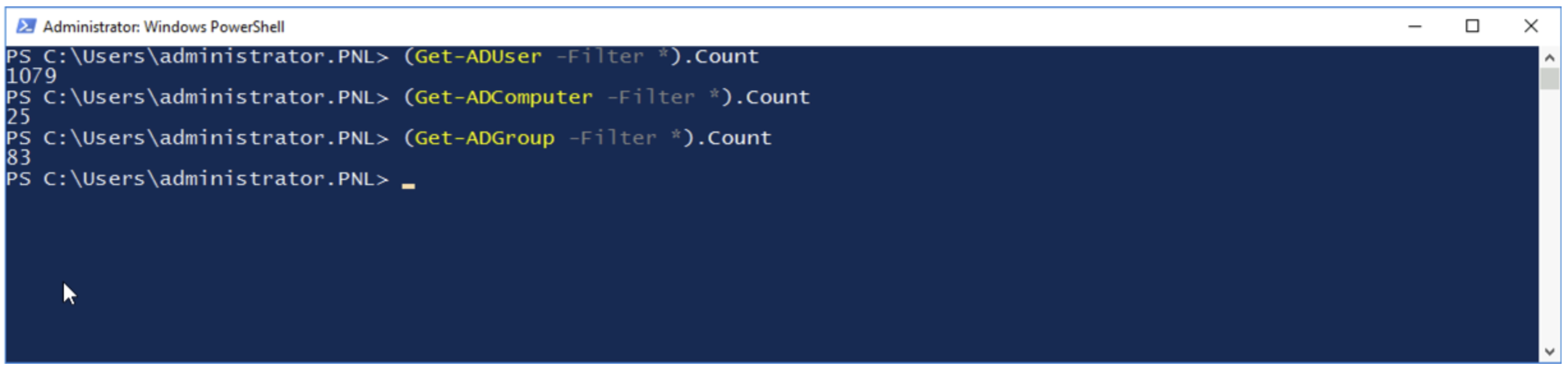PowerShell Command for User Count, Computer Count, and Group Count in Active Directory