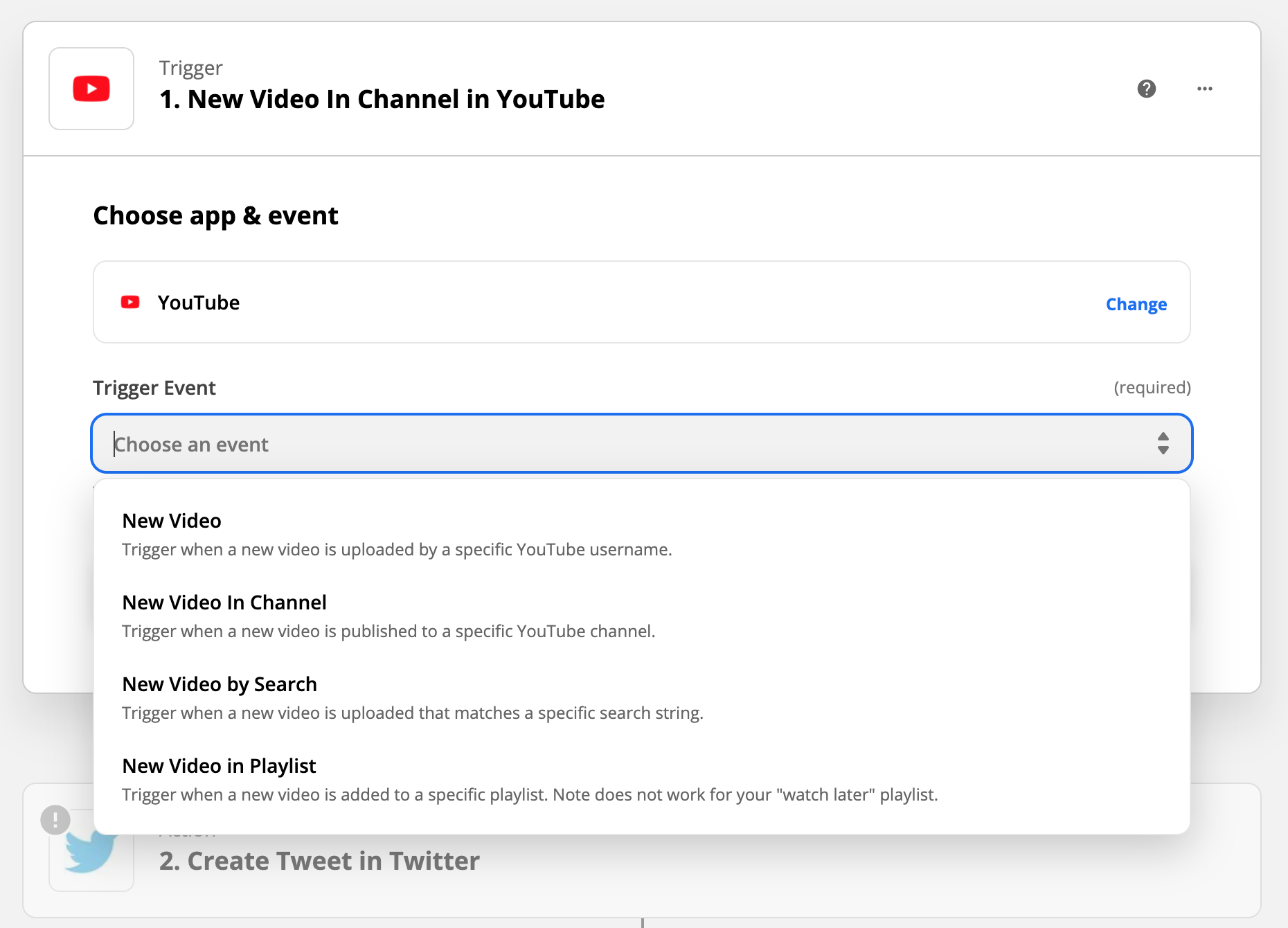 Create a Zapier trigger to Post a tweet on Twitter whenever a specific Youtube channel uploads a video.
