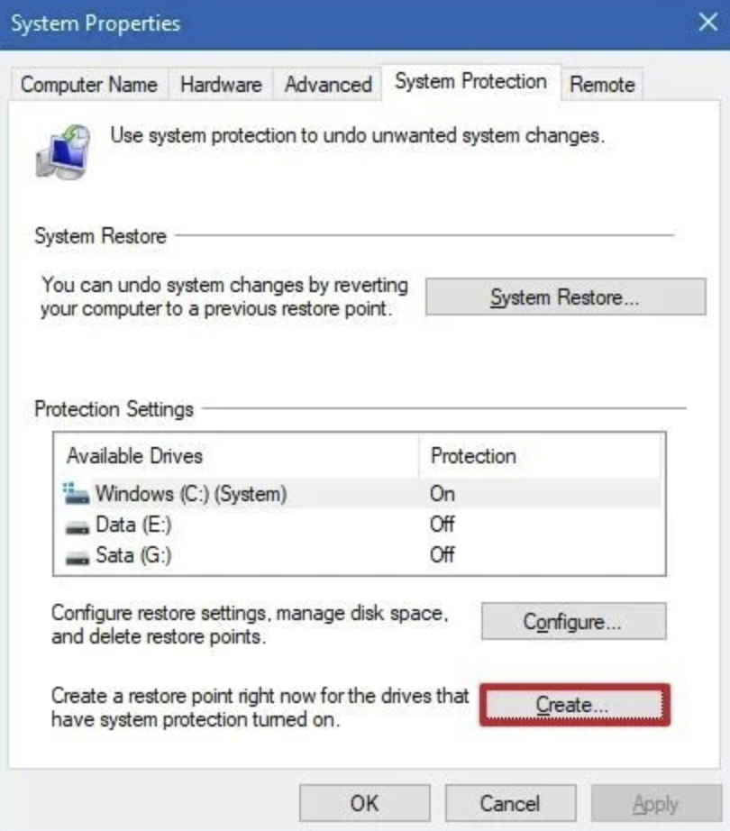 Click the Create button under the System Protection Settings section.