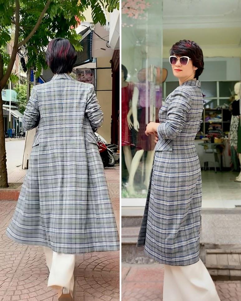 Áo khoác dạ nữ dáng dài kẻ caro mix quần ống suông V742 thời trang thủy quảng ninh