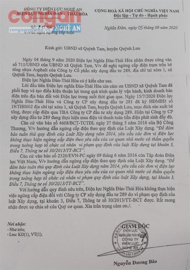 Văn bản từ chối cắt điện của Chi nhánh điện lực Thái Hòa - Nghĩa Đàn