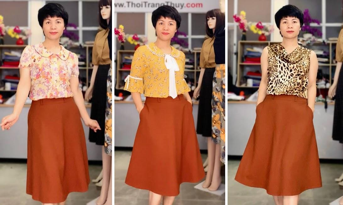 Mix đồ áo sơ mi với chân váy xòe midi V734 thời trang thủy