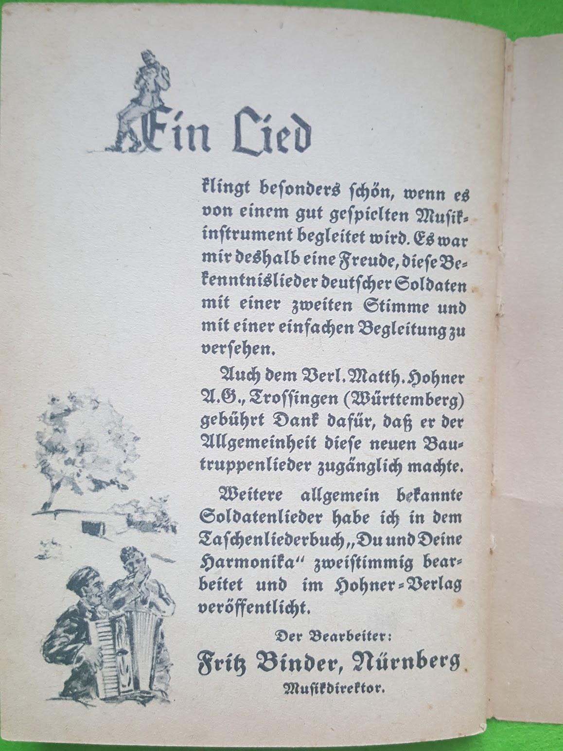 Das Liederbuch der Bautruppen, 1942, Matth. Hohner Verlag, Trossingen