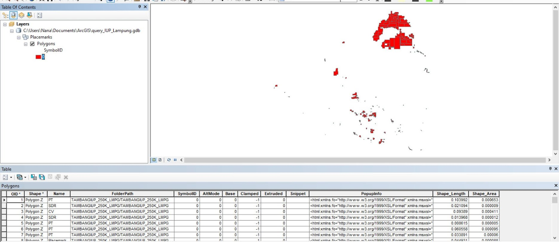 Contoh hasil impor KMZ di ArcGIS